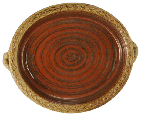 Hand Crafted Oval Baker / Tray With Handles And Unique Raised Slip Decoration