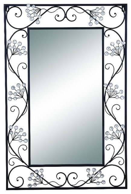 Elegant Mirror Black Metal Frame Scroll Work Wall Accent Home Decor