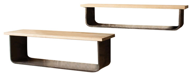 Wood And Metal Wall Shelves metal and wood wall shelves, set of 2 - industrial - display and
