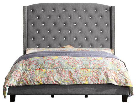 Martins Upholstered Panel Bed, Gray, Queen