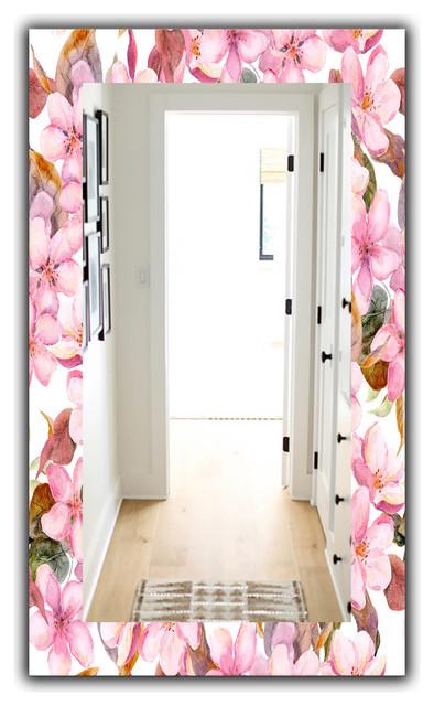 Designart Pink Blossom 53 Traditional Frameless Vanity Mirror Asian Bathroom Mirrors By Design Art Usa