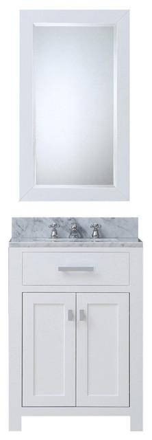"Madison Pure White Bathroom Vanity, 24"", One Mirror, No Faucet"