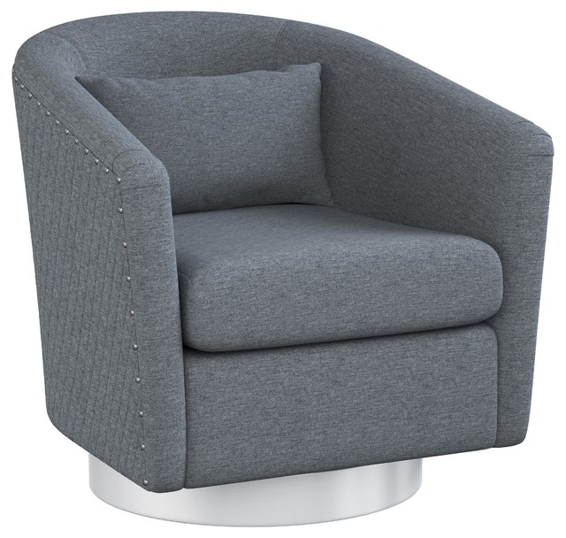 Mychelle Quilted Modern Swivel Tub Chair With Silver Base, Steel Blue