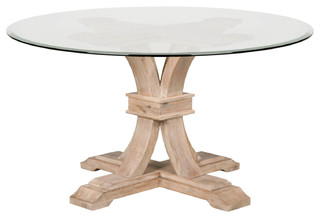 Twain Glass Round Dining Table, Stone Wash
