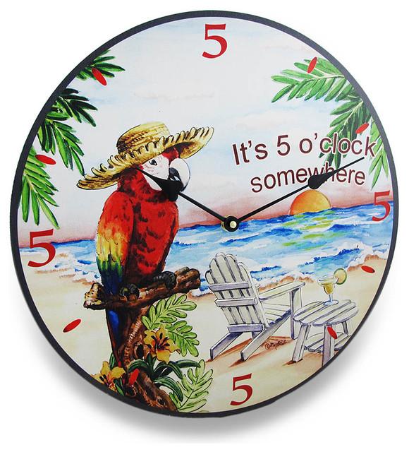 Its Five O Clock Somewhere Tropical Parrot Wall Clock 15