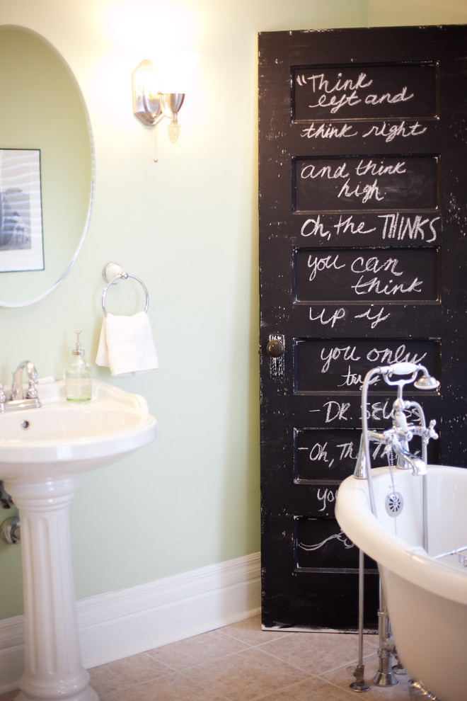 Inspiration for a timeless bathroom remodel in Omaha with a pedestal sink