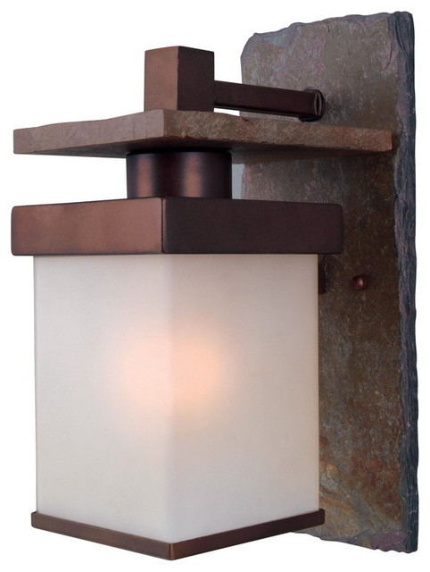 Boulder 1-Light Outdoor Wall Lights, Natural Slate/copper.