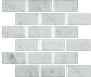 2 Quot X4 Quot Grayish White Honed And Beveled Marble Mosaic Tile