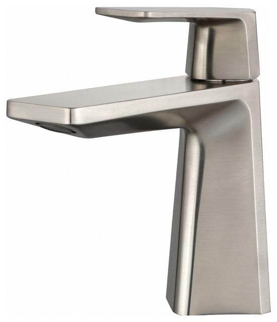 KRAUS Aplos Single Hole 1-Handle Bathroom Faucet With Drain, Brushed Nickel