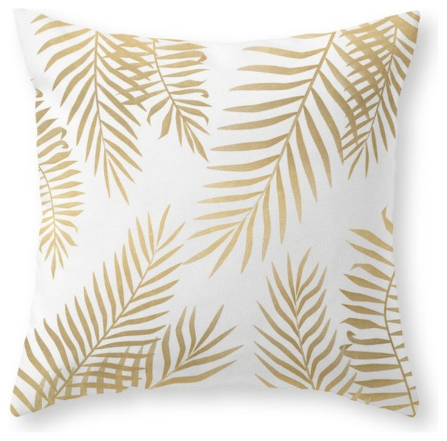 Decorative Pillows Tropical : Gold Palm Leaves Throw Pillow - Tropical - Decorative Pillows - by Society6