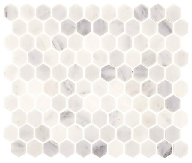 Aspen White Marble 1 Hexagon Tile by Tile Circle