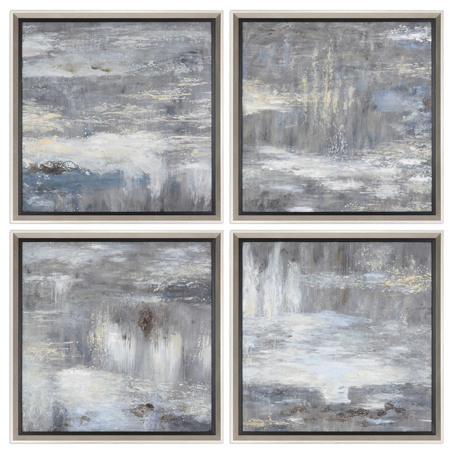 Shades Of Gray Hand Painted Art, Set Of 4.