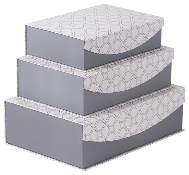 Good Magnetic Lid Storage Boxes With Grey Geometric Design, Set Of 3  Contemporary Storage