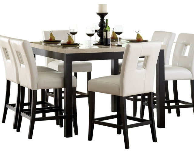 Homelegance Archstone 7 Piece Counter Height Dining Room Set With White Chairs Traditional