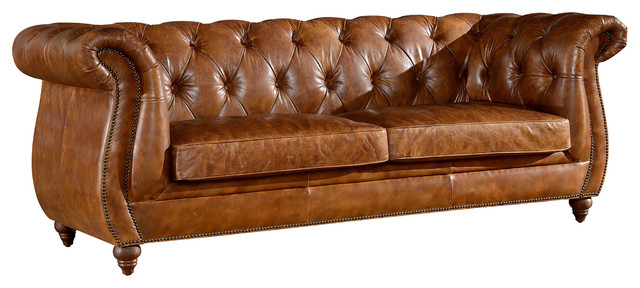 Rolled Arm Top Grain Leather Chesterfield Sofa