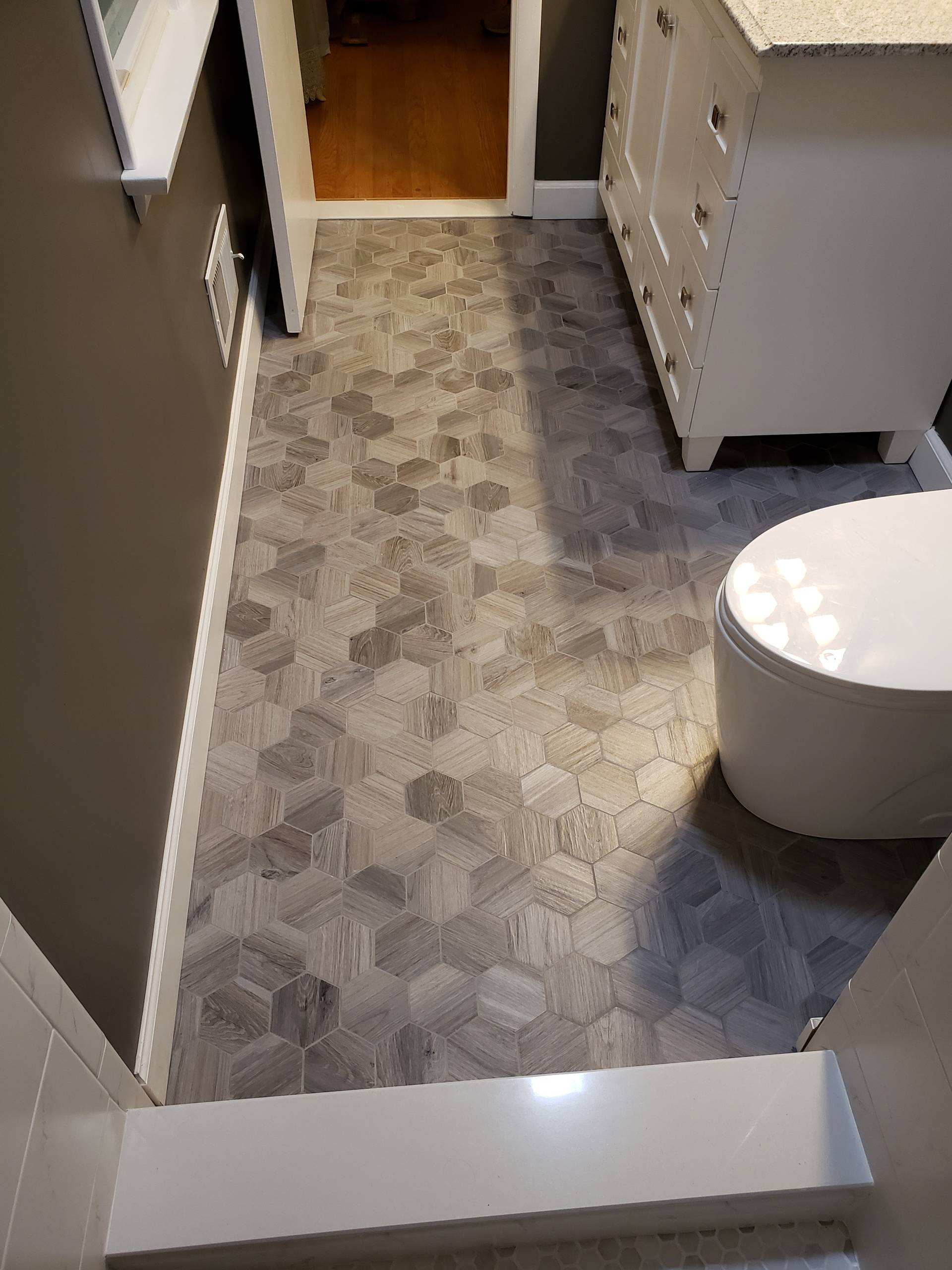 Complete Bathroom Makeover & Flooring- What a Difference!