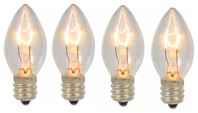 Pack Of 4 Transparent Clear C7 Twinkle Christmas Replacement Bulbs.