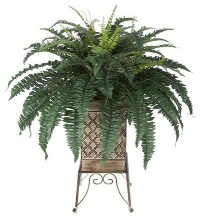 artificial fern in tan small planter stand - tropical - artificial