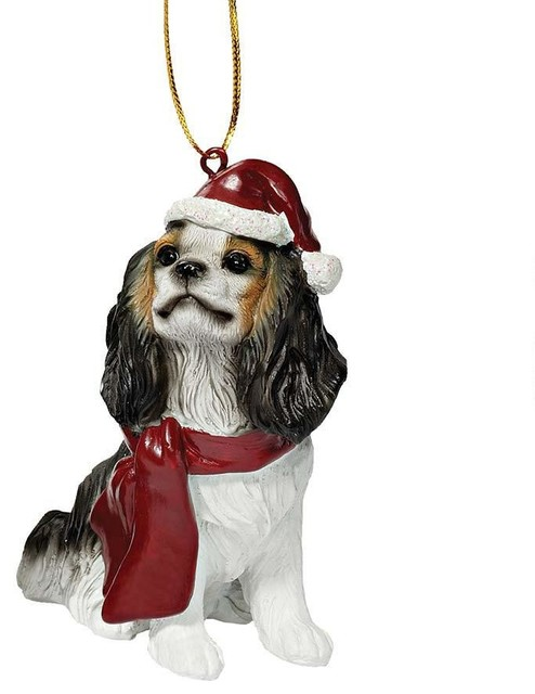 Cavalier King Charles Spaniel Holiday Dog Ornament Sculpture - Contemporary  - Christmas Ornaments - by XoticBrands Home Decor - Cavalier King Charles Spaniel Holiday Dog Ornament Sculpture