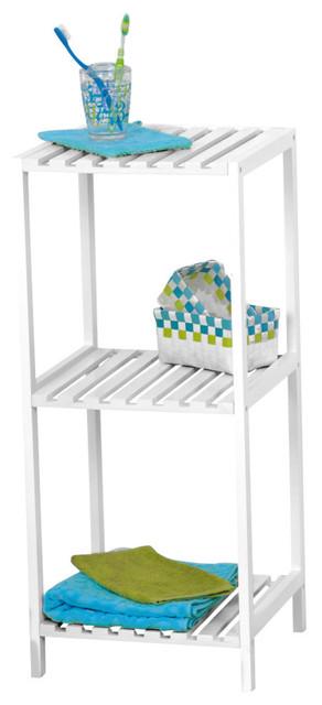 Bathroom Rack Tower/3 Shelves Pine White Tower Shelving