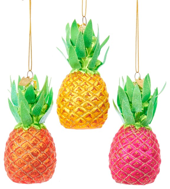 Yellow Pink Orange Pineapples Christmas Holiday Ornaments Set of 3 Noble  Gems - Tropical - Christmas Ornaments - by Mary B Decorative Art - Yellow Pink Orange Pineapples Christmas Holiday Ornaments Set Of 3