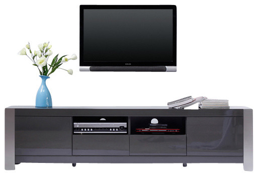 Smithen Tv Stand, High-Gloss Gray, Brushed Stainless Steel.