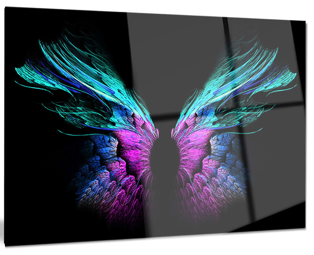 "Blue Metal Wall Art blue butterfly wings"" glossy metal wall art - tropical - metal"