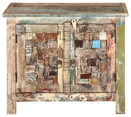 Amersfoort Mosaic Inlay 2 Door Rustic Reclaimed Wood Storage Cabinet