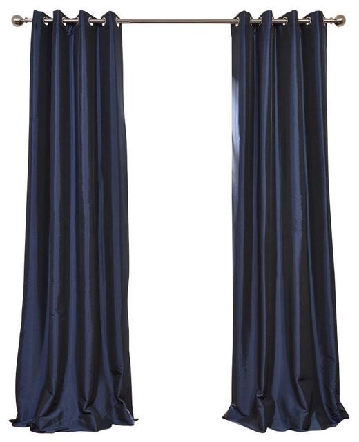 "Navy Blue Grommet Blackout Fauxsilk Taffeta Curtain Single Panel, 50""x120""."