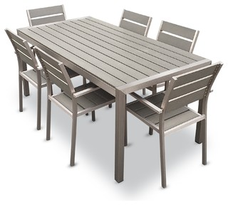 Outdoor Aluminum Resin 7 Piece Dining Table And Chairs Set