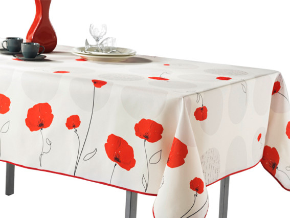 Rouge Flower Tablecloth, 118x58 Contemporary Tablecloths