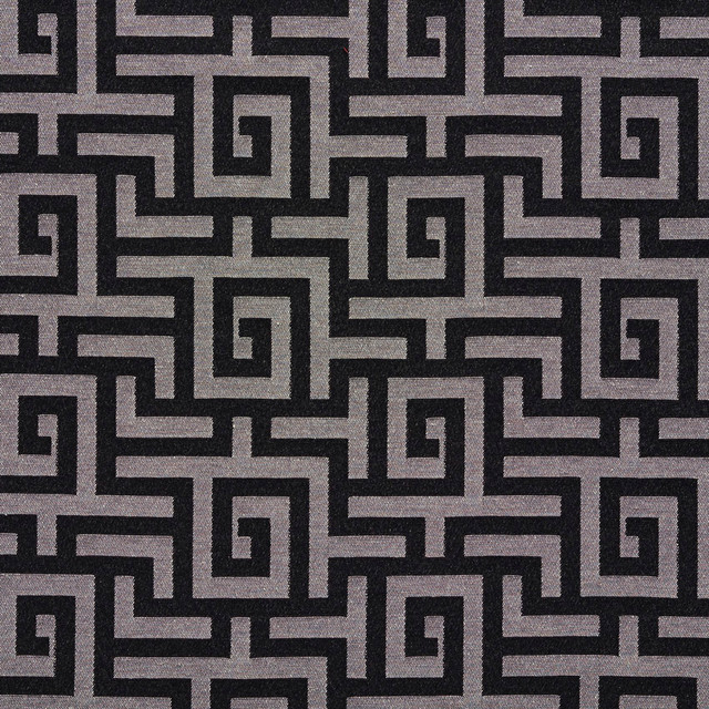Black And Silver Shiny Geometric Faux Silk Upholstery Fabric By The Yard