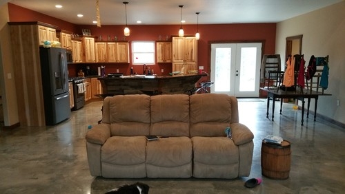 ... furniture and are having a hard time trying to figure out the layout we want since it is such a large space and the door is right in the middle. Help!! & Front door opens in middle of living room