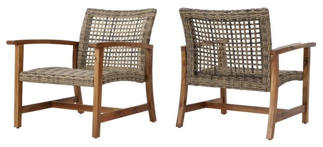 Savannah Outdoor Mid Century Acacia Wood Frame Wicker Club Chairs, Set of 2