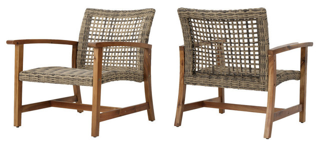 Charmant GDF Studio Savannah Outdoor Acacia Wood Frame Wicker Club Chairs, Set Of 2