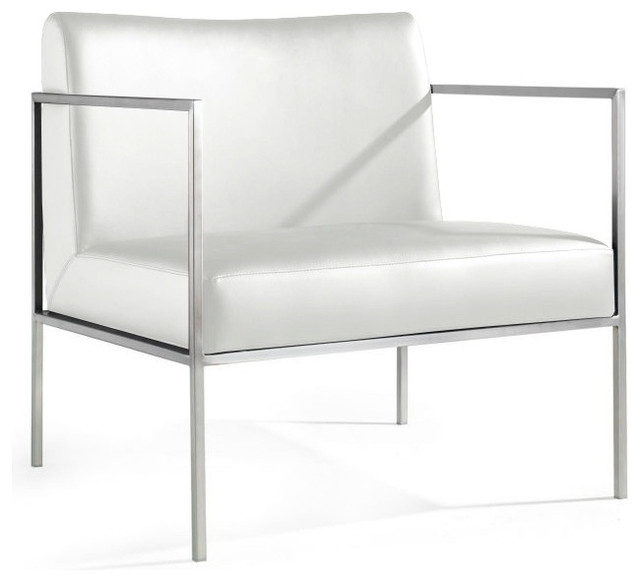 Charles Leather Armchair, White
