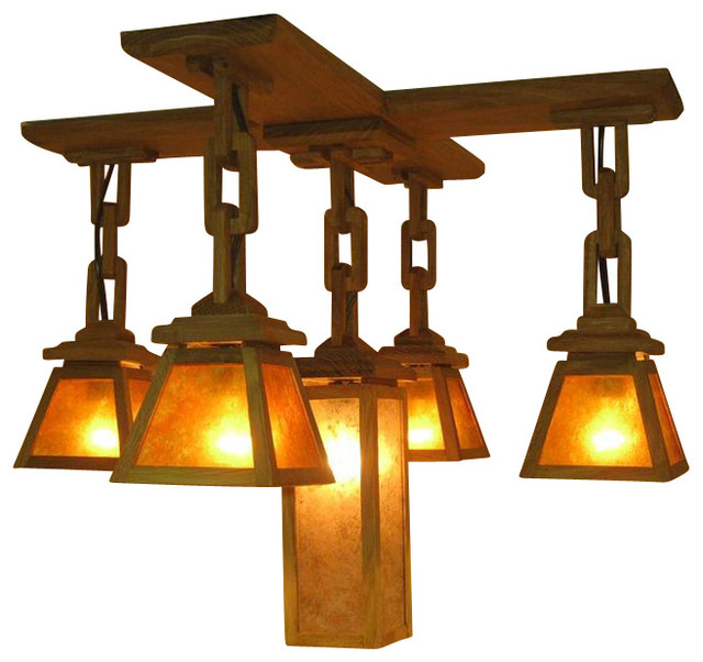 Adk Adirondack Craftsman Lighting 5 Shade Chandelier