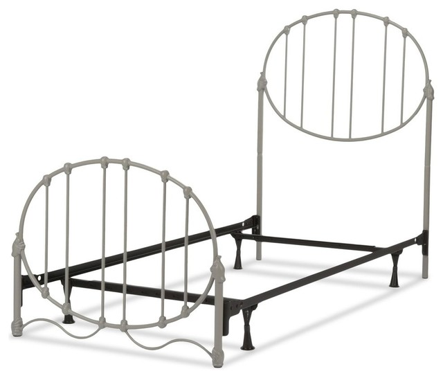 Emory Complete Kids Bed, Duo Panels, Oval Shape, Gray Finish, Full.