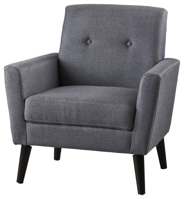 Sierra Mid Century Fabric Club Chair, Dark Gray.