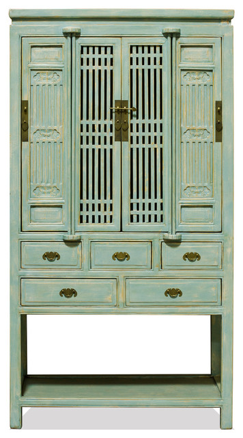 Chinese Tall Storage Cabinet Distressed Light Blue Elm Wood Farmhouse Pantry Cabinets By China Furniture And Arts