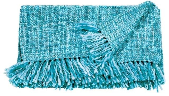 Mina Victory Throw Basket Weave Throw Cream Throw Blanket, Turquoise.