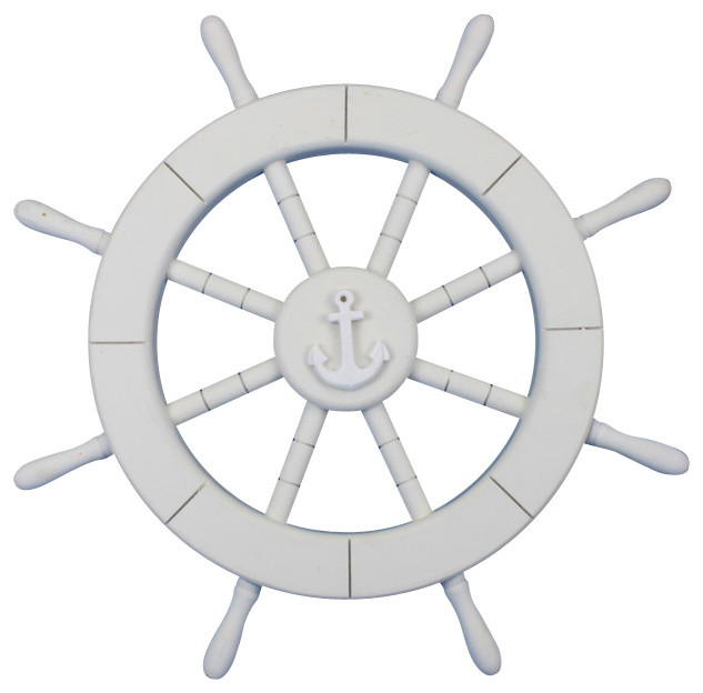 Rustic wall decor for bathroom - Decorative Ship Wheel With Anchor White 18 Beach Style Decorative