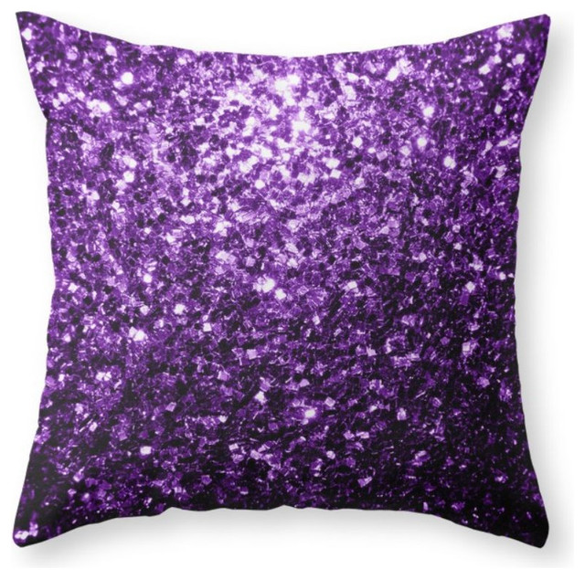 Purple Accent Pillows Modern : Beautiful Purple Glitter Sparkles Throw Pillow - Contemporary - Decorative Pillows - by Society6