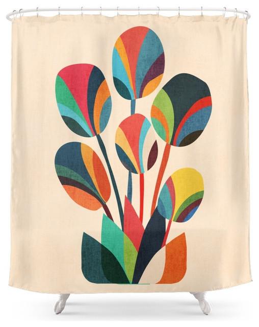 Good Society6 Ikebana, Geometric Flower Shower Curtain Midcentury Shower Curtains