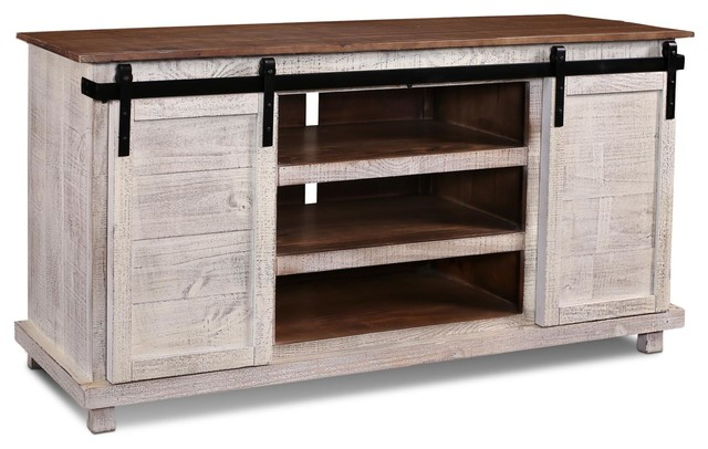 Westgate White 66 Sliding Barn Door Tv Stand Media Console