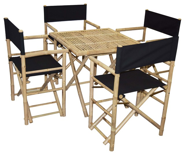 Bamboo Square Table: Bamboo Square Table And Director Chairs 5-Piece Set, Black
