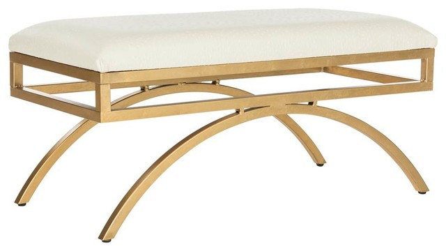Moon Arc Bench, Creme And Gold Finish.