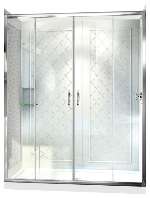 """DreamLine Visions Shower Door, 30"""" x 60"""" Base and QWALL-5 Shower Backwall Kit"""