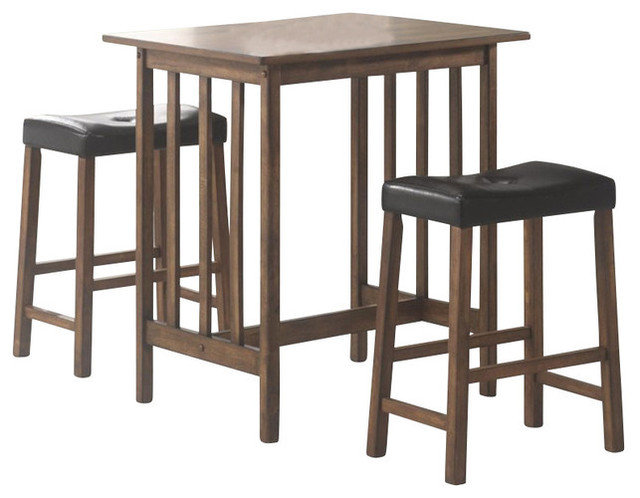 3 Piece Casual Counter Height Table Saddle Bar Stool Dining Set Nut Brown
