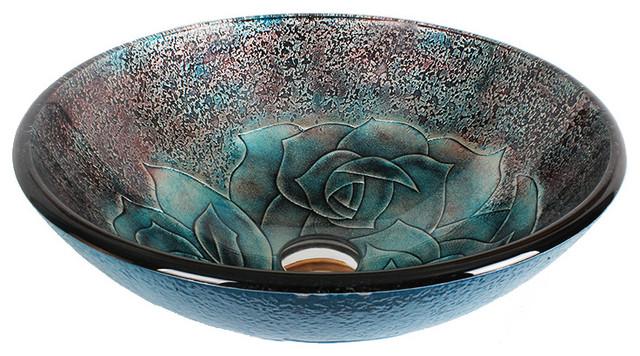 Dawn Tempered Glass Handmade Vessel Sink Round Shape Contemporary Bathroom  Sinks
